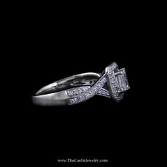 Stunning Bridal Ring w/ Emerald Cut Diamond Center w/ Round Diamond Sides in 14k White Gold - The Castle Jewelry  - 2