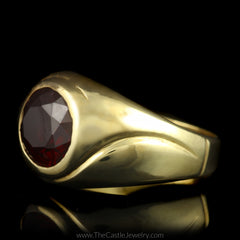 Oval Garnet Ring with Curved Ridged Mounting in 14K Yellow Gold - The Castle Jewelry  - 2