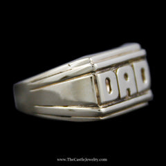 "Perfect ""DAD"" Ring with Grooved Sides and a Tapered band in 10k Yellow Gold - The Castle Jewelry  - 2"