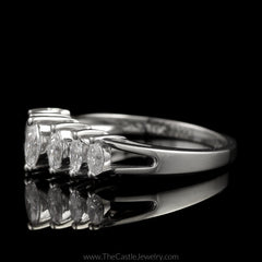 Graduated Marquise Diamond Anniversary Ring 3/4cttw in 14K White Gold - The Castle Jewelry  - 2