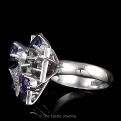 Art Deco Pave Diamond Clusters Accented with Pear Shaped Sapphires 18K White Gold - The Castle Jewelry  - 2