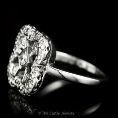 Round Diamond Ring With Square Shaped Open Mounting Crafted in Platinum - The Castle Jewelry  - 2