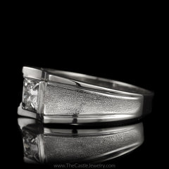 Fantastic Men's Ring Old European Cut Diamond with Laser Cut Concave Sides in 10K White Gold - The Castle Jewelry  - 2