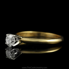 Round Brilliant Cut 1/2ct Diamond Solitaire Engagement Ring in 14K Yellow Gold - The Castle Jewelry  - 2