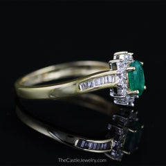 Oval Emerald Ring with 1/2cttw Round & Baguette Diamond Accents in 14K Gold - The Castle Jewelry  - 2