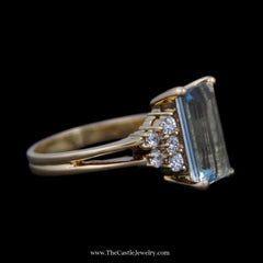 Stunning Emerald Cut Aquamarine Ring w/ Round Diamond Cluster Sides in 18k Yellow Gold - The Castle Jewelry  - 2