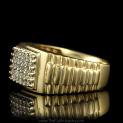 Square Shaped 1/2cttw Diamond Cluster Ring w/ Rolex Design Sides in 10K Yellow Gold - The Castle Jewelry  - 2
