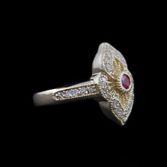 Gorgeous Bezel Set Ruby Ring in Fancy Design Mounting w/ Round Brilliant Cut Diamonds in Yellow Gold - The Castle Jewelry  - 2