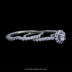 Gorgeous Round Brilliant Cut Diamond Bridal Set w/ Surprise Diamond Mounting in 14k White Gold - The Castle Jewelry  - 2