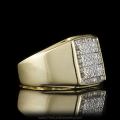 Gent's Square Round & Baguette Diamond Cluster in 10K Yellow Gold - The Castle Jewelry  - 2