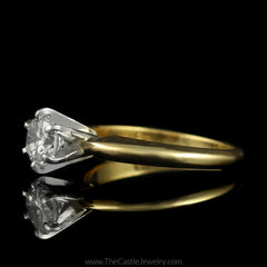Round Brilliant Cut Diamond Solitaire Engagement Ring in 14K Yellow Gold - The Castle Jewelry  - 2