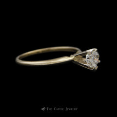 Heart Shaped .48ct Diamond Solitaire Engagement Ring Crafted in 14k Yellow Gold