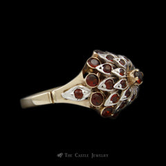 Antique Tiered Garnet Cluster Ring in 14K Yellow Gold