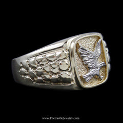 Men's Eagle Ring w/ Rectangle Design Bezel & Nugget Design Sides in Yellow & White Gold - The Castle Jewelry  - 2