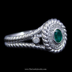 Stunning Oval Bezel Set Emerald w/ Diamond Bezel & Rope Design Outer Bezel & Sides in White Gold - The Castle Jewelry  - 2