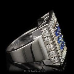 Large Square Sapphire Cluster Cocktail Ring Surrounded in Moissanites in 14K White Gold - The Castle Jewelry  - 2