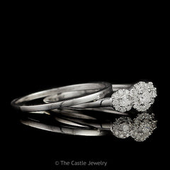 Crown Collection .30cttw 3 Stone Round Diamond Engagement Bridal Set with Diamond Halos in 10K White Gold - The Castle Jewelry  - 2