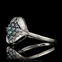 Blue Diamond Cluster Ring Accented with Channel Set Baguette Diamonds in 10K White Gold - The Castle Jewelry  - 2
