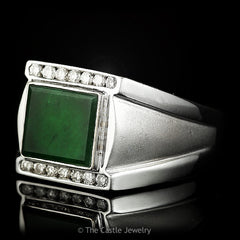Mens Square Cut Green Onyx 1/4cttw Round Diamond Accents Satin & Polished Finish 18K White Gold - The Castle Jewelry  - 2