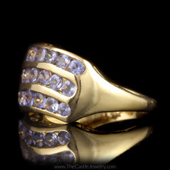 Channel Set Tanzanite Ring  3 Row Wave Design in 14K Yellow Gold - The Castle Jewelry  - 2