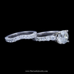 3 Carat Old European Cut Diamond Engagement Ring w/ Round Diamond Sides & Band in White Gold - The Castle Jewelry  - 2