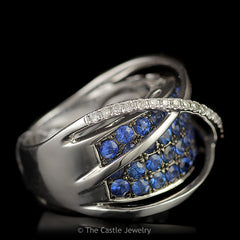 Authentic LeVian Designer Wide Sapphire Band with Triple Cross Over Bars in 14K White Gold - The Castle Jewelry  - 2