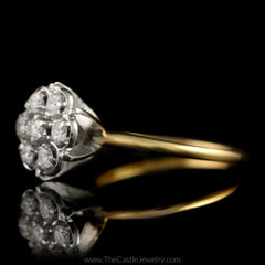 Round 7 Diamond Cluster Ring 1/2cttw in 14K Yellow Gold - The Castle Jewelry  - 2