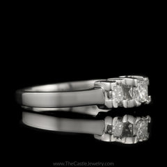 Princess Cut 1cttw DeBeers Style 3 Diamond Ring in Platinum - The Castle Jewelry  - 2