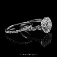 SPECIAL Crown Collection 1cttw Bridal Set w/ Double Halo Accent in 14K White Gold - The Castle Jewelry  - 2