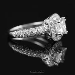 Princess Cut Diamond Engagement Ring with Round Pave Halo & Side Accents - The Castle Jewelry  - 2