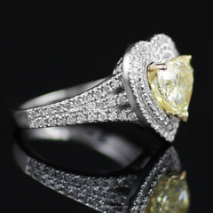 Stunning Natural Fancy Yellow Heart Shaped Diamond Engagement Ring w/ Double Halo - The Castle Jewelry  - 2