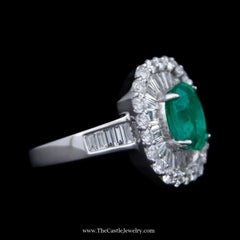 1.68ct Oval Emerald Ring With Baguette and Round Brilliant Cut Diamond Bezel and Baguette Diamond Sides in 18k White Gold