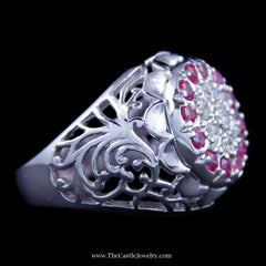 Ruby and Diamond Kentucky Cluster Ring w/ Filigree in 10K White Gold - The Castle Jewelry  - 2