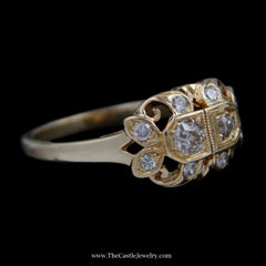 Antique Style Ring w/ Old European Cut Diamonds in Swirl Design Mounting in 14k Yellow Gold