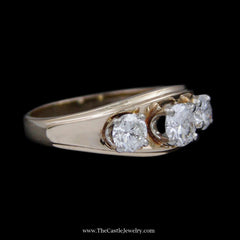 Concaved Design 1cttw Three Diamond Ring w/ Ridged Edges Crafted in 14k Yellow Gold