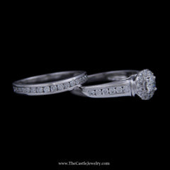 Crown Collection 1cttw Bridal Set Round Diamond Center, Bezel, & Band w/ Cathedral Mount 10k WG