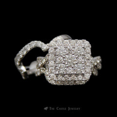 Square 3cttw Diamond Cluster Bridal Set w/ Halo / Infinity /& 2 Matching Bands in 14K White Gold