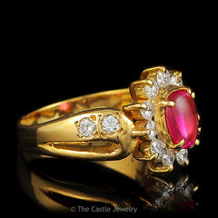 Synthetic Ruby .75 CTTW Diamond Bezel Side Accented 14K Yellow Gold Ring - The Castle Jewelry  - 2