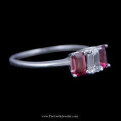 Stunning 3 Stone Ring w/ ½ Carat Emerald Cut Diamond (VS2/F) & Pink Tourmaline Sides 14K WG - The Castle Jewelry  - 2