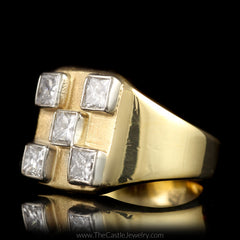 Square Shaped Checkerboard Ring with 5 Princess Cut Diamonds 1cttw in 14K Yellow Gold - The Castle Jewelry  - 2