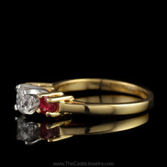 Stunning Radiant Cut Diamond Ring with Round Rubies on Either Side in 14K Yellow Gold - The Castle Jewelry  - 2