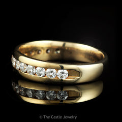 Men's 14k Yellow Gold 1cttw Channel Set Round 14 Diamond Row Wedding Band - The Castle Jewelry  - 2