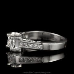 Princess Cut Diamond Engagement Ring 1cttw with Princess & Round Diamond Accents in Platinum - The Castle Jewelry  - 2