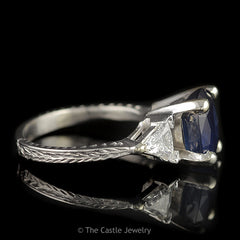 Oval Sapphire 3 Stone Ring with 2 Trillion Cut .50cttw Diamond Sides in 14K White Gold - The Castle Jewelry  - 2
