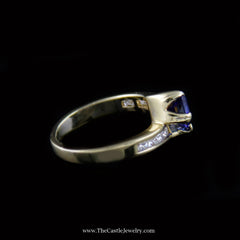 Gorgeous Emerald Cut Tanzanite Ring w/ Diamond Band in 18K Yellow Gold - The Castle Jewelry  - 2