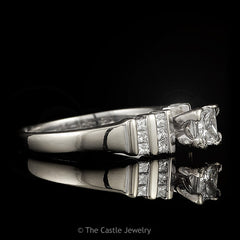 Princess Cut Diamond Engagement Ring Channel Set Diamond Sides .75cttw 18k White Gold - The Castle Jewelry  - 2