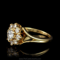 Round Flower 9 Diamond 1cttw Cluster Split Shank Mounting 14K Yellow Gold - The Castle Jewelry  - 2