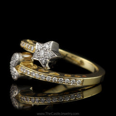 Unique Star & Heart 1/2cttw Pave Diamond Split Bypass Ring in 14K Yellow Gold - The Castle Jewelry  - 2