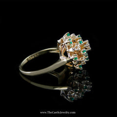 Beautiful Emerald and Diamond Cluster Ring in 14K Yellow Gold - The Castle Jewelry  - 2