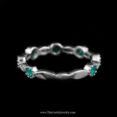 Charming Stackable Round Emerald Band w/ Diamond Accents in White Gold - The Castle Jewelry  - 2